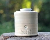 custom pet urn. modern simple urn for ashes. white urn
