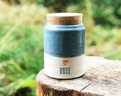 custom urn for ashes. cork lid. french blue on porcelain shown