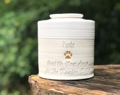Custom pet urn, L-W shown, larger sizes. pet urn, personalized urn for ashes. Matte White glaze / porcelain. gold upgrade shown