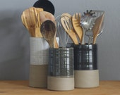 One utensil holder or vase in your choice of clay and glaze color. Modern kitchen utensil holder handmade by vitrifiedstudio.