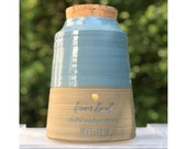 Extra Large Urn (and XXL) human cremains urn for ashes. modern cremation urn. sand stoneware and french blue shown, custom colors available