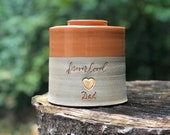 Custom urn, L-W shown, larger sizes, partial volume adult urn for ashes. rust orange / sand  clay. gold upgrade shown