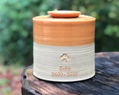 Custom pet urn, L-W, larger sizes. pet urn, personalized urn for ashes. Rust orange / sand  clay. gold upgrade paw shown