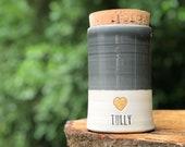 Custom pet urn, cork lid. choice of color, name, date. Modern White porcelain, slate glaze urn, gold upgrade shown
