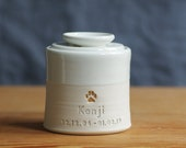 custom pet urn. modern simple urn for ashes. modern urn. Name, date, paw, gold upgrade shown.