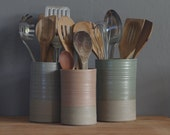 One custom utensil holder or vase in your choice of clay and glaze color. Modern kitchen utensil holder by vitrifiedstudio.