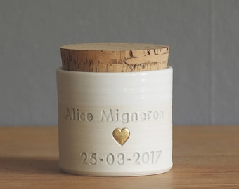 custom urn with cork. size xs shown. custom urn for ashes or pet urn. white with dove grey shown with optional gold shown