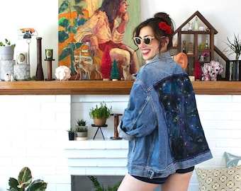 Vintage 90s Airbrushed Jean Jacket - Unisex Oversize Denim Jacket - XL