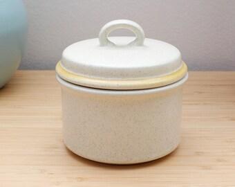 Vintage 1970s Speckled Stoneware Hearthside Garden Festival Beige & Yellow Sugar Bowl