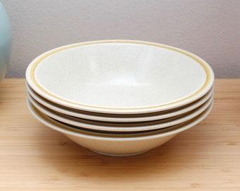 Vintage 1970s Speckled Stoneware Hearthside Garden Festival Yellow Striped Bowls - Set/4