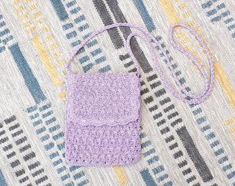 Vintage Early 2000s Y2K Crochet Crossbody Bag - Purple Lilac Mini Boho Purse