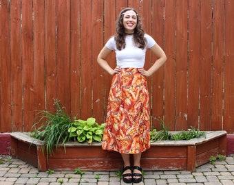 Vintage 2000s Y2K Tropical Floral Print Skirt - Orange High-Waisted Summer Midi Skirt - M/L
