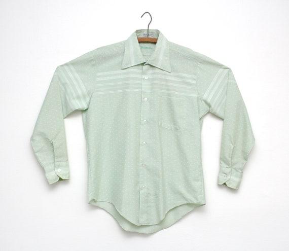 Vintage 1970s Button-Up Shirt - Green & White Stri