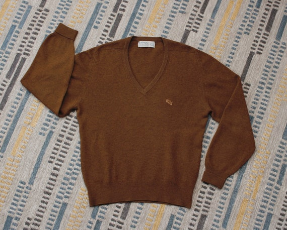 Vintage 1960s does 1930s Preppy Mens Wool Sweater