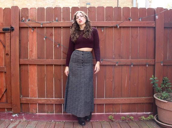 Vintage 70s Boho Corduroy Maxi Skirt - High-Waiste