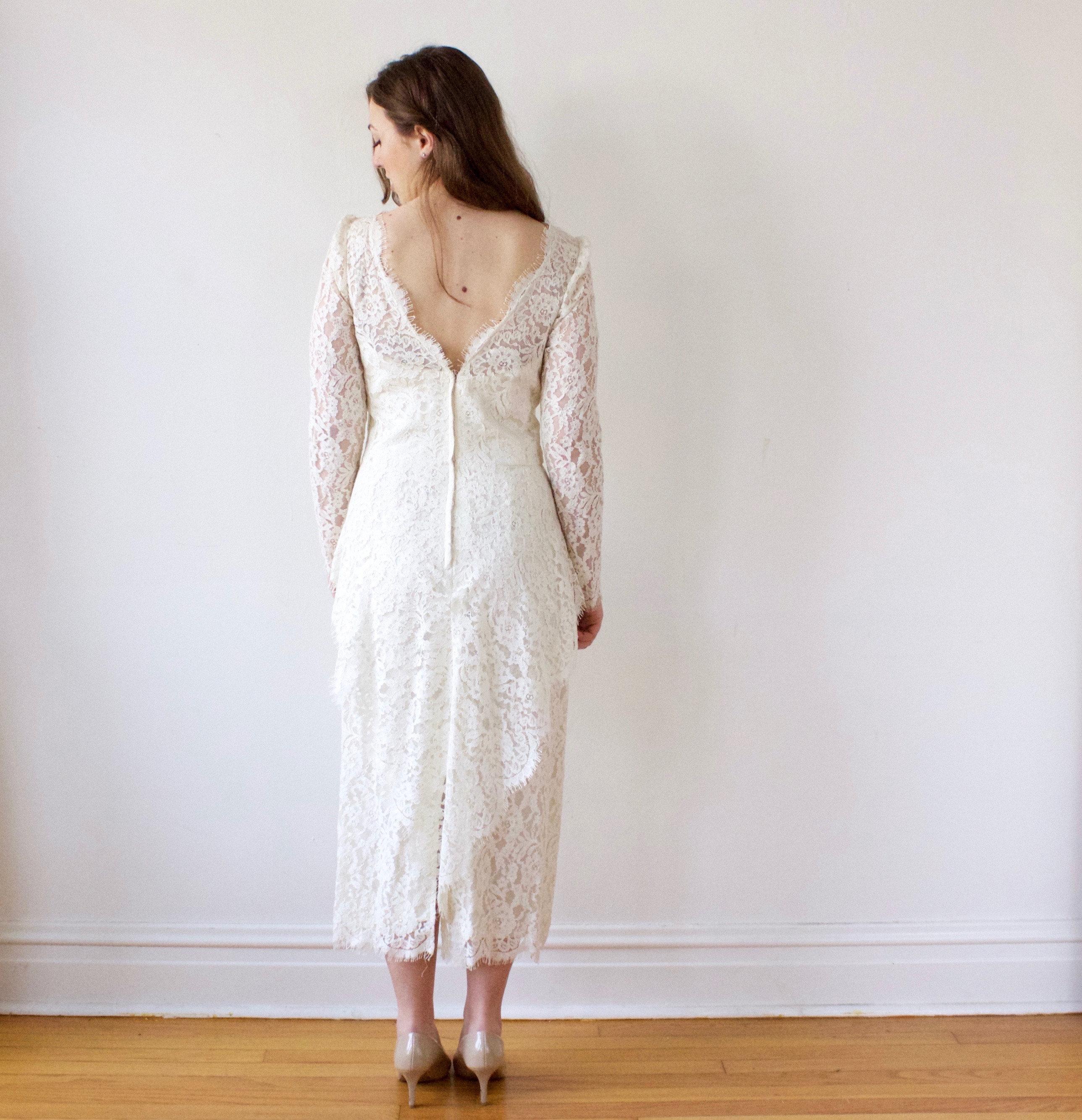 Vintage Tee Länge Spitze Hochzeit Kleid Elfenbein Wollweiß