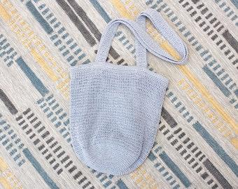 Vintage Early 2000s Y2K Crochet Shoulder Bag - Blue Periwinkle Boho Purse