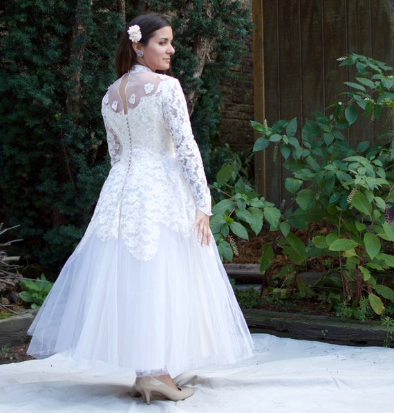 Vintage 50s Wedding Dress Tea Length Tulle Lace Long Etsy