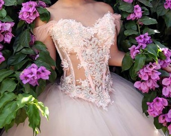 Fairy Tale Gown, Crystal Corset and Tulle Skirt