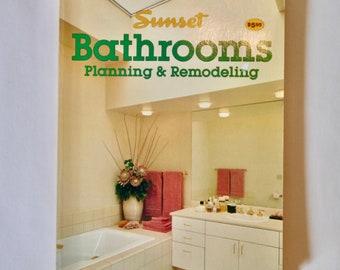 Sunset Books Bathrooms Planning & Remodeling vintage how-to DIY book 1983 retro design renovation old houses tubs spas powder room