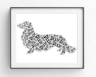 Custom Dachshund Gift Long Haired Dachshund Pet Art Gift Pet Memorial Pet Loss Gifts Puppy Gift New Dog Mom Wedding Gift Ideas for Couple