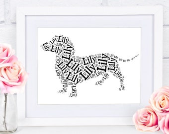 Dachshund Gift Custom Name Word Art Silhouette Doxie Pet Memorial Pet Loss Gifts Personalized Couples Housewarming New Puppy Gift Idea