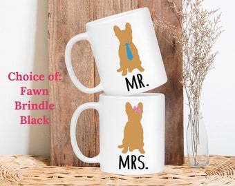 French Bulldog Wedding Gifts for Couple Mr and Mrs Engagement Gift Bride and Groom His and Hers Coffee Mugs Newlywed Gift Anniversary Gift