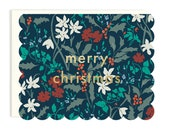Merry Christmas Scalloped Floral - Die Cut Holiday Card