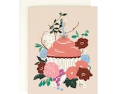 Blush Cupcake Birthday Card with Gold Foil