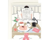 Mom Newspaper Breakfast in Bed - Mother's Day Card