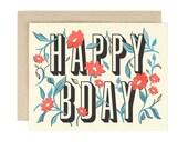 Floral HAPPY BDAY Card