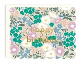 Happy Birthday Scalloped Floral - Die Cut Card