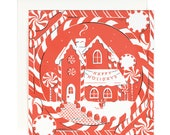 Peppermint Gingerbread House - Square Holiday Card