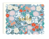 Hello Scalloped Floral - Die Cut Card