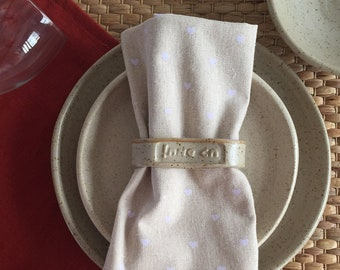 Oatmeal color rustic napkin rings, gift from Israel, Hebrew words Chag Sameach - Napkin ring set of five table napkin rings.