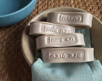Chag sameach - Unique white napkin rings set that say in Hebrew happy holiday, Jewish Housewarming, Jewish mom kitchen home decor gift.
