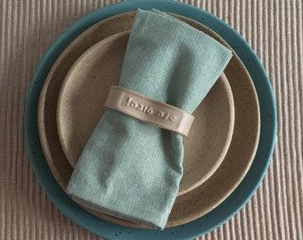 Rosh Hashanah ceramic napkin rings, Hebrew words Shana Tova - Set of five. Hostess gift for the Jewish new year.