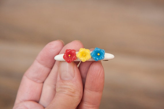 Retro Vintage Hair Barrette Girl/'s Hair Clip Small Vintage Barrette Vintage Hair Accessories Colorful Plastic Flower Floral