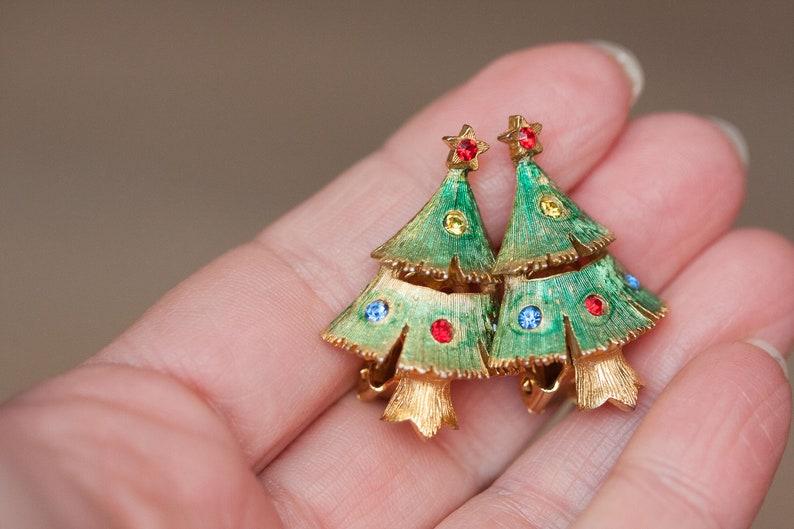 Christmas Tree Rhinestone Brooch Pin Vintage Christmas Jewelry Vintage Holiday Earrings Signed Jonette Jewelry Vintage Jewelry Set