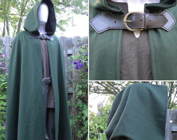 Wool Renaissance Cape, Medieval Cloak, Hooded w/ Leather & Brass Buckle Closure Deluxe - /P/ (LB)