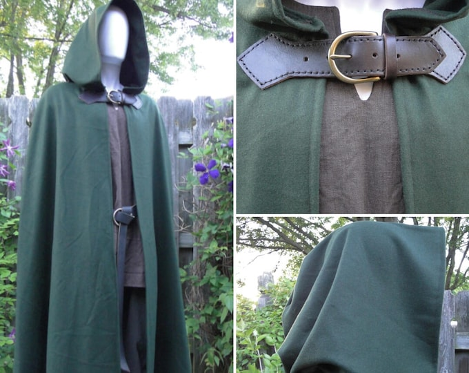 Wool Renaissance Cape, Medieval Cloak, Hooded w/ Leather & Brass Buckle Closure Deluxe - P (LB)