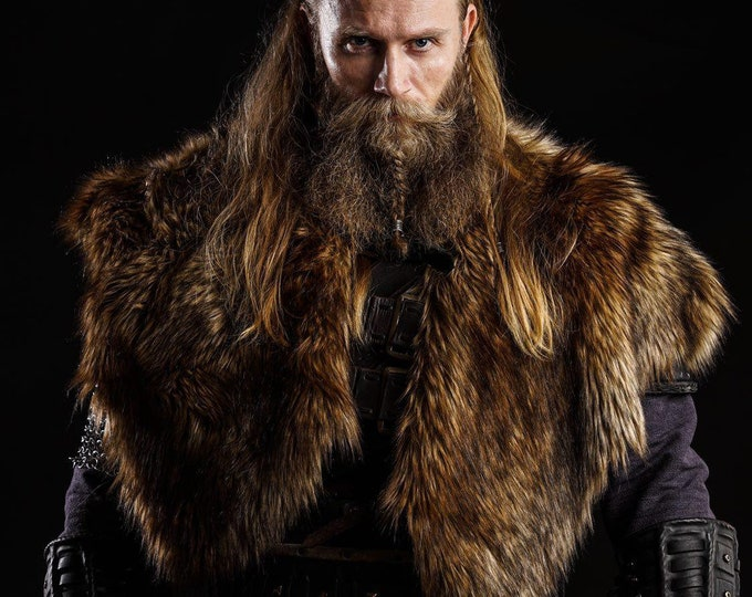 Barbarian Fur Mantle XL, Viking Shoulder Cape, Medieval Warrior - Faux Fur Choose Color - /P/ (AB)