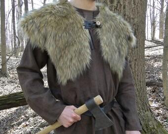 Viking Fur Capelet, Mantle - Medieval, Barbarian, Renaissance - Large Faux Fur Choose Color