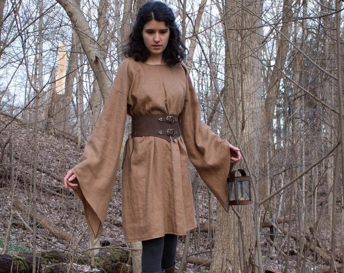Elven Linen Tunic, Bell Sleeve Top, Woodland Elf Medieval Fantasy /P/ (LB)
