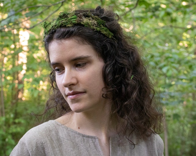 Woodland Moss Crown, Pagan Handfasting, Elven Hair Wreath /F/ (LB)