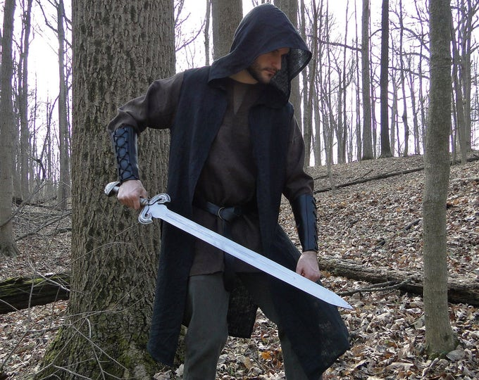 Hooded Ranger Surcoat, Medieval Assassin Vest - Mens Large One Size, 4 Colors - /P/ (LB)