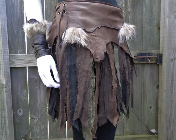 Battle Skirts Leather & Linen Wrap Skirt, Warrior Viking Tribal Style Custom - /P/ (AB)