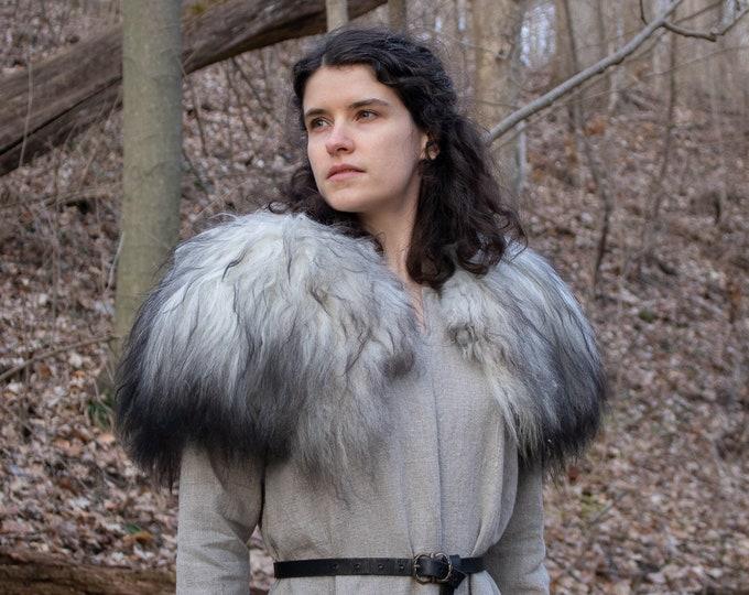 Viking Sheepskin Mantle, Fur Collar S/M Grey Mix /P/ (AB)