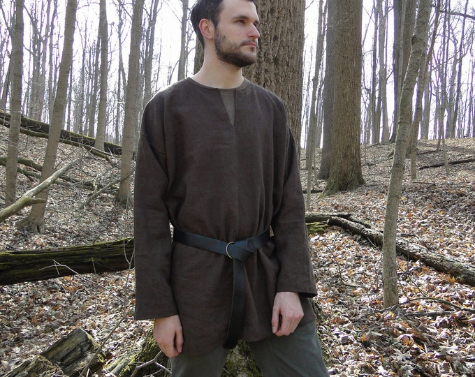 Medieval Shirt Tunic 4 Colors - Long Sleeve - Linen, Viking Archer, Mens Large One Size - /P/ (LB)