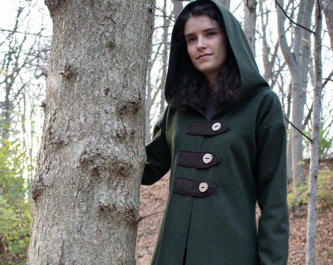 Elven Hooded Jacket, Woodland Coat, Hoodie, Green Wool /F/ (LB)